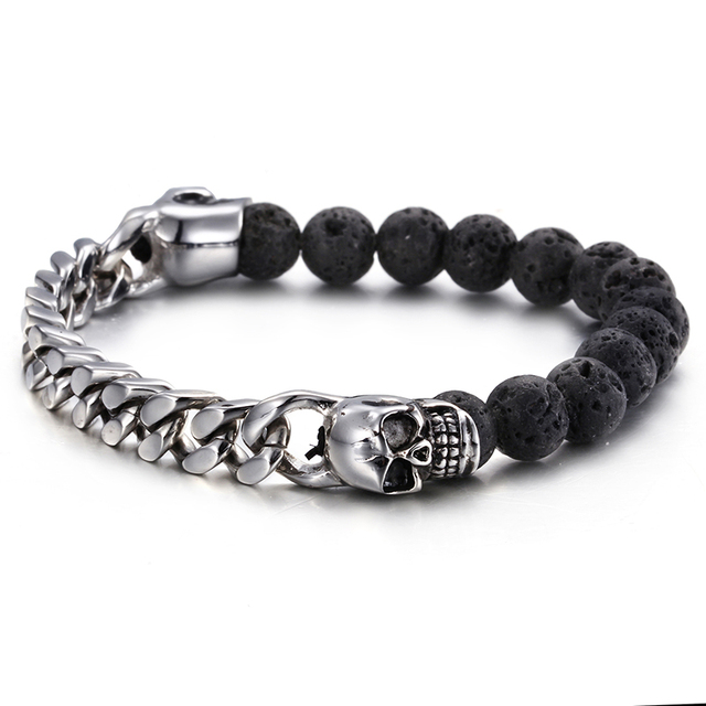 men women buy item for xl ae beaded bracelet aed en frosted unisex volcano natural stone metal rock jewelry i dumbbell beads