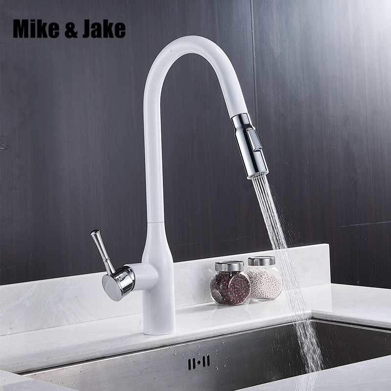 New Pull Out White Kitchen Faucet Br