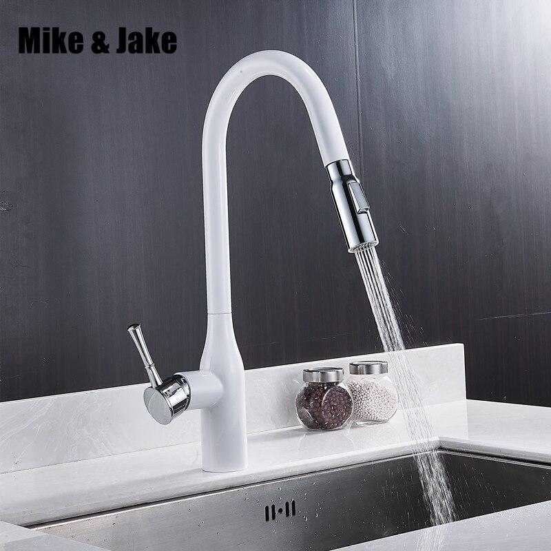 Nuovo pull out bianco rubinetto della cucina in ottone nero di lusso del bicromato di potassio miscelatore della cucina del rubinetto rubinetti della cucina pull out colpetto della cucina MJ5568Nuovo pull out bianco rubinetto della cucina in ottone nero di lusso del bicromato di potassio miscelatore della cucina del rubinetto rubinetti della cucina pull out colpetto della cucina MJ5568