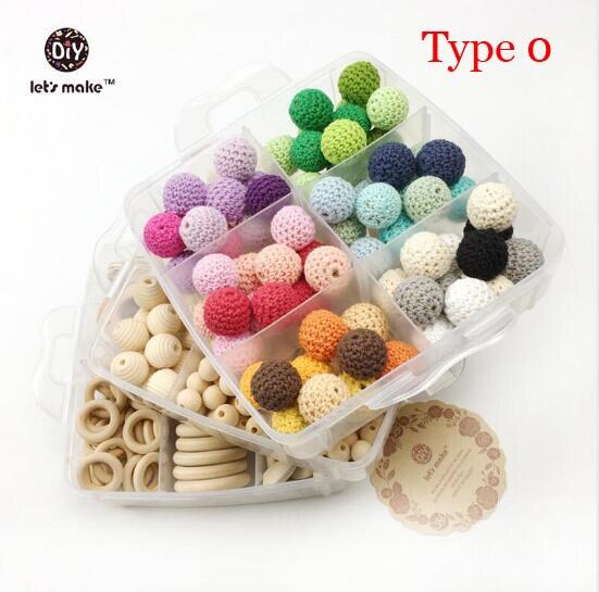 Купить с кэшбэком Let's Make Baby Teether Nursing Jewelry Combination Package Crochet Blending Geometry Wood Beads Creative Wooden Teether
