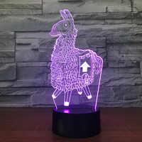 Alpaca llama 3D Led lámpara de escritorio modelado luz de noche Usb carga bebé humor botón táctil niños dormitorio iluminación para decoración del hogar regalo