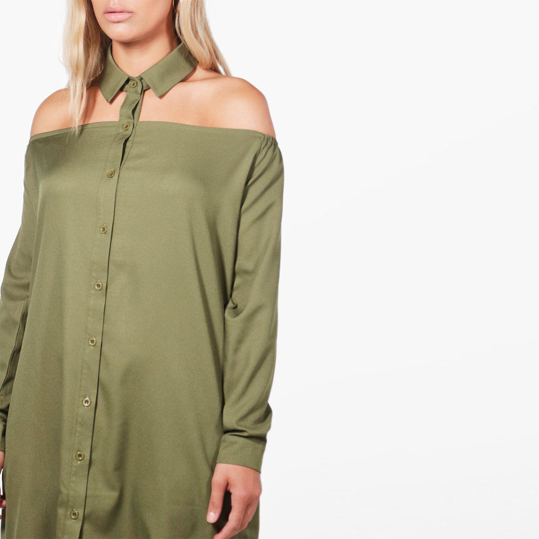 Kissmilk Plus Size Women Army Green Choker Loose Shirt Dress Button Down  Off Shoulder Boyfriend Club Dress Casual Large Dress-in Dresses from Women s  ... 0c7cba9e0686