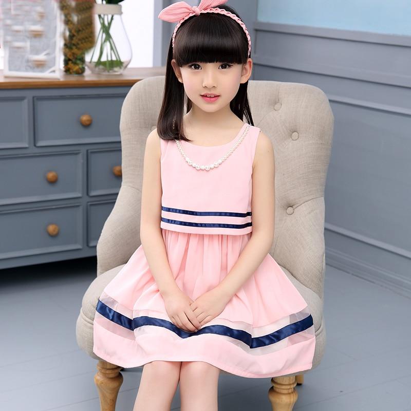 Dívčí letní šaty 2016 nové dětské oblečení letní styl děti růžové šifónové šaty velká dívka tenká princezna šaty 6-14 let