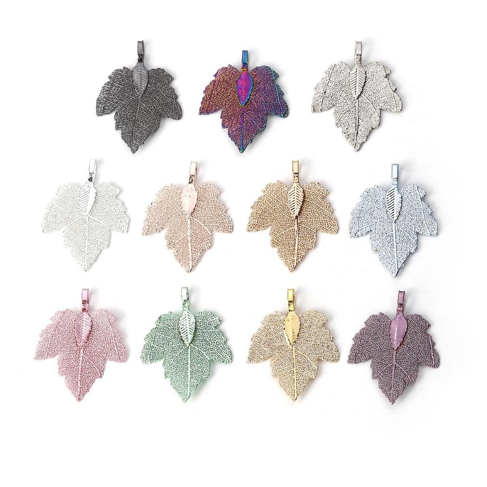 """Doreen Box Copper Pendants Maple Leaf Colorful Sweet Pendants 36mm x28mm(1 3/8"""" x1 1/8"""") - 34mm x27mm(1 3/8"""" x1 1/8""""), 2 PCs"""