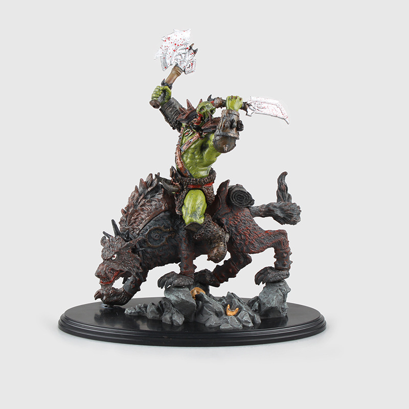 Game WOW Orc Warrior Wolf Rider (Riding Wolf) Statue Figure 24cm Cool Collectible Toy Gift dc wow thrall the orc shamman action figure toys thrall the orc shamman doll pvc acgn figure collectible model toy brinquedos