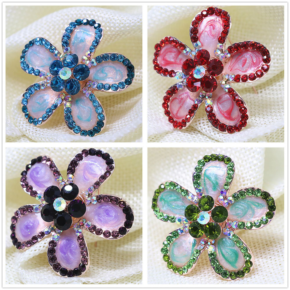 Fashion enamel flower delicate crystal brooches pins mix-color bouquet jewelry rose gold plated clothes accessories A