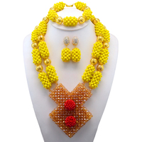 Fantastic Yellow African Beads Jewelry Set Wedding Crystal Flower Occassion Jewelry Necklace Set for Women Free Shipping