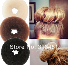 Free shipping 2013 Hot selling DIY Pure Knitted Hair Bun Hair Donut Make your Hair More Stylish Middle size 2pcs/lot