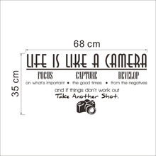 Life is a camera quote wall stickers home decor photograph vinyl adesivo de parede home decoration wall sticker 2010.