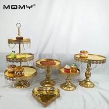 5PCS/ Set Dessert Tray 3 tier Cupcake dessert display Decoration tool Wedding Crystal Mirror Cake Stand set