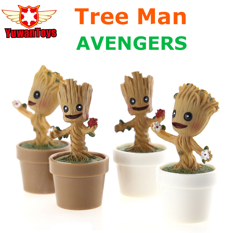 Avengers Infinity War Guardians Of The Galaxy Tree Man Potted Action Figure Model Blocks Q Edition Car Decoration Toys