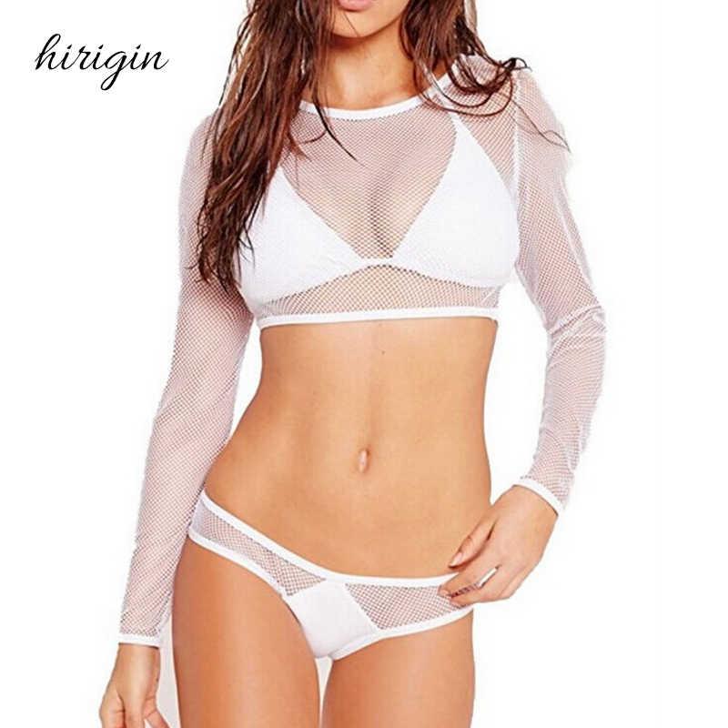 HIRIGIN Polyester Sexy Wanita Panjang Lengan Tinggi Pinggang Bikini Set Swimwear Swimsuit Monokini Bathing 3 pcs