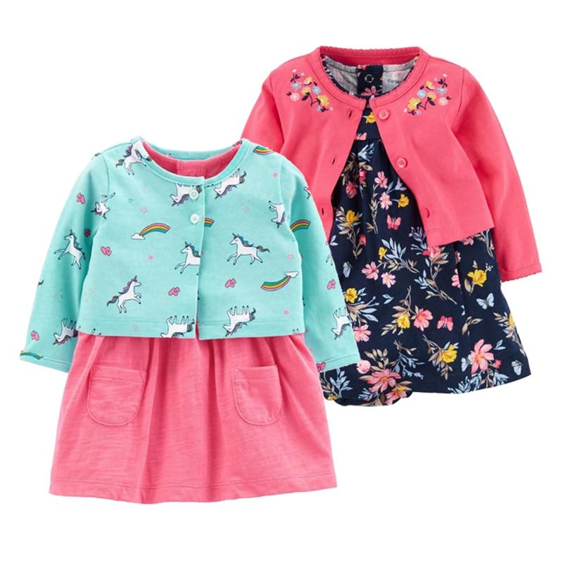2-delige set 2018 nieuwe baby meisjes bloem jurken katoen jumpsuits - Babykleding