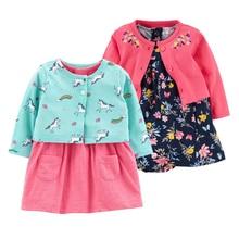 2 Pieces Set 2019 New Baby Girls Flower Dresses Cotton Jumpsuits Fashion Spring Autumn Clothes  Newborn Girl Roupa