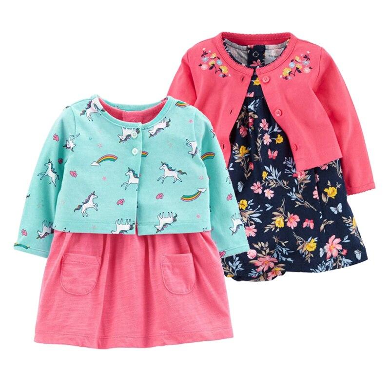2 stück Set 2019 Neue Baby Mädchen Blume Kleider Baumwolle Overalls Mädchen Mode Frühling Herbst Kleidung Neugeborenen Baby Mädchen Roupa