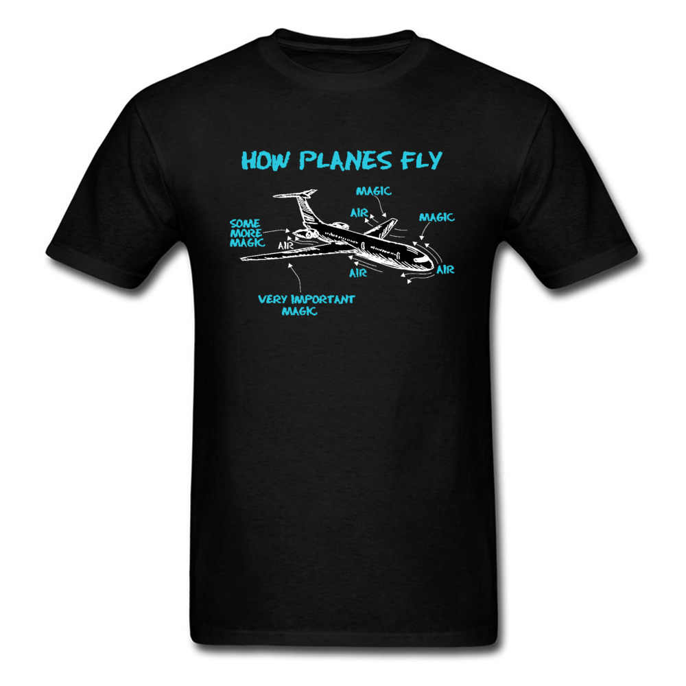 Print Engineer Mechanical How Plane Fly Mens T Shirts Aircraft Airplane Schematic Diagram Pattern Tshirt Father's Day Cotton