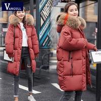 Vangull Loose Warm Winter Jackets Coats Women Hooded Fur Coat Down Parkas Long Cotton Padded Jacket Casual Female Outwear 2019