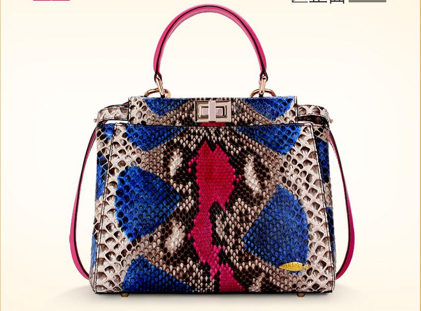 d1dd20c7ac5 100% Echt Python Snake Skin Bag Lady vrouwen Designer Handtas, kleurrijke  Snake Lederen Vrouwen
