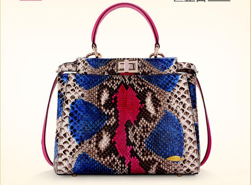 100% Genuíno Saco de Pele de Cobra Python Senhora mulheres Designer De Bolsa, colorido bolsa de Ombro Mulheres Saco de Couro de Cobra
