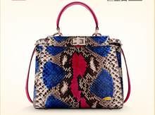 ddc21453f488 100% натуральная змеиная кожа питона сумка леди женская дизайнерская сумка,  красочная змея кожаная женская