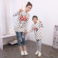 Spring Autumn Family Matching Clothing Polka Dot Cotton Long Sleeve T Shirt Outfits Character Matching Mother Daughter Clothes