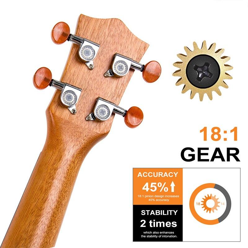 Kmise ukulélé Ukelele Kit Soprano Concert ténor acajou Uke 21 23 26 30 4 cordes guitare avec Gig Bag accordeur sangle pour débutants - 4