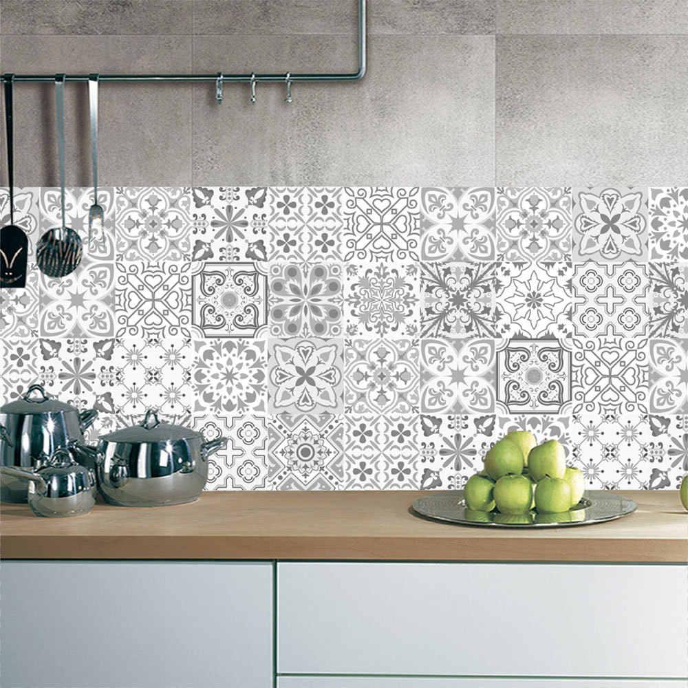10/15/20Cm Retro Lantai Ubin Pola Tangga Stiker Kamar Mandi Dapur Dekorasi Tahan Air Peel & tongkat Art Wallpaper