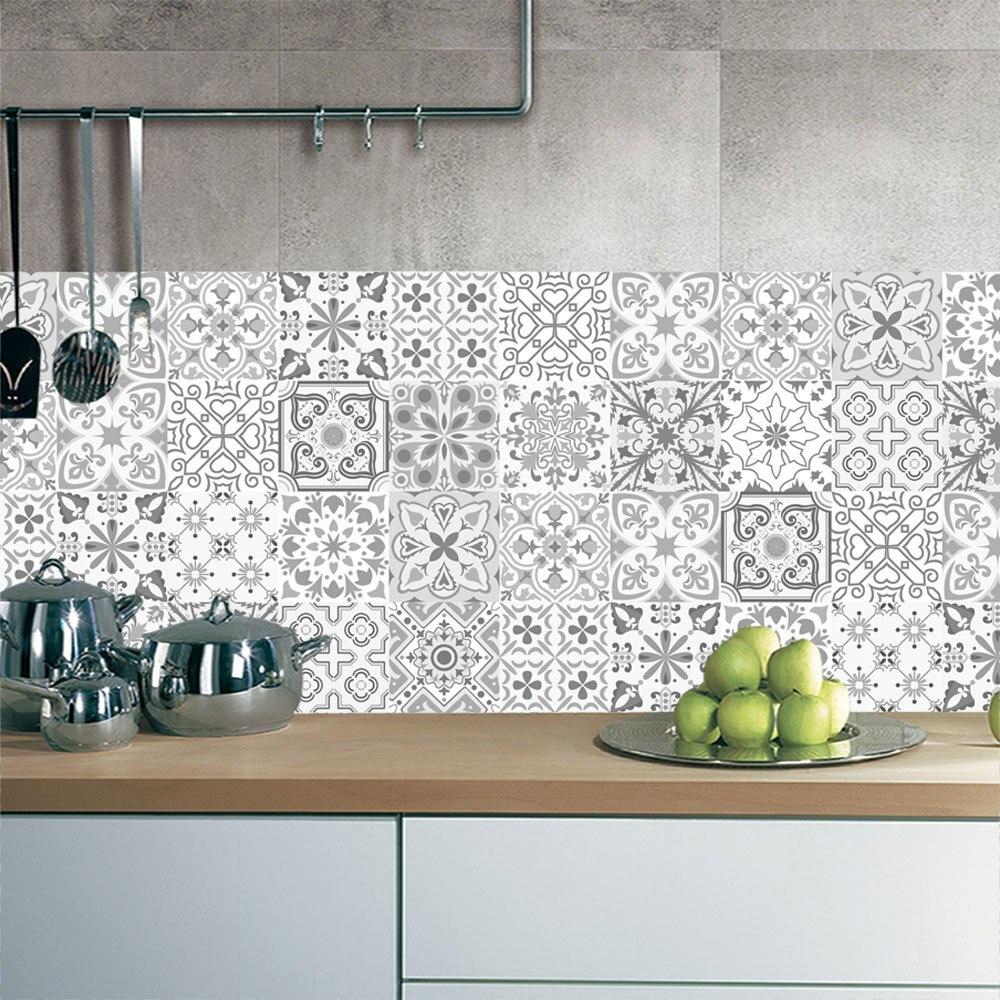 10/15/20cm 3D Retro desen karo zemin stickerı PVC banyo mutfak su geçirmez duvar çıkartması ev dekor TV kanepe duvar sanatsal fresk