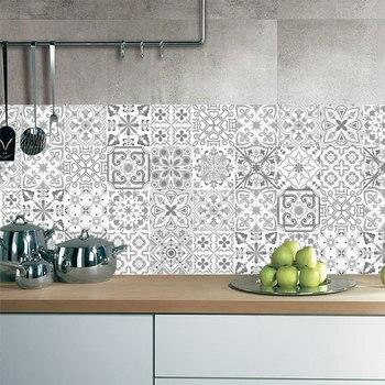 10/15/20cm Retro Pattern Tile Floor Stair Sticker Bathroom Kitchen Decoration Waterproof Wall Sticker Peel & Stick Art Wallpaper