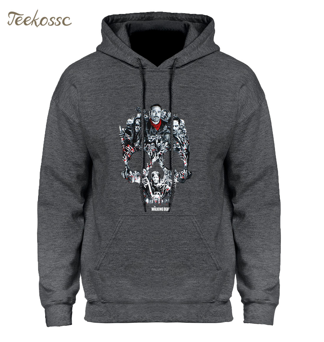 Walking Dead Skull Montage Hoodie Hoodies Sweatshirt Men 2018 New Winter Autumn Hooded Hoody Hip Hop Streetwear Punk Sportswear