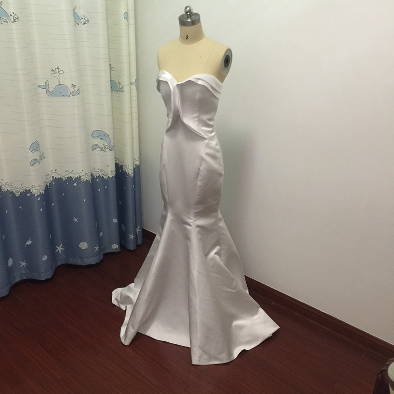 Real photo white mermaid style bridesmaid dresses long for Semi formal dress for wedding guest