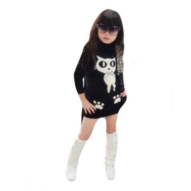 Crianças Camisolas de Gola Alta de Lã Com Bolso Animais Pullovers De Malha Camisola Vestido Das Meninas Para As Crianças