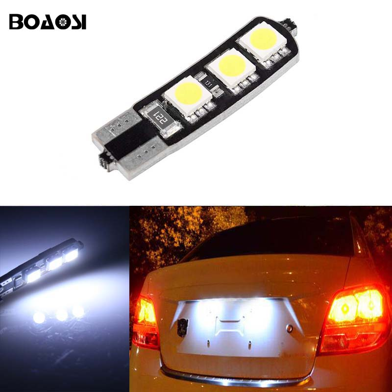 BOAOSI 1x T10 LED W5W Samsung 5050SMD Car License plate Light Bulbs For font b Chevrolet