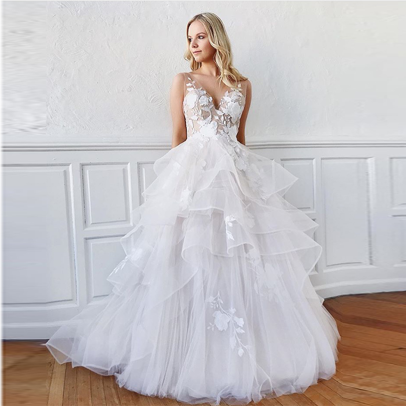 New Illusion Vestido De Noiva Deep V-neck Sexy Backless Sleeveless Tiered Tulle Skirt Bridal Gowns White Ivory Wedding Dresses