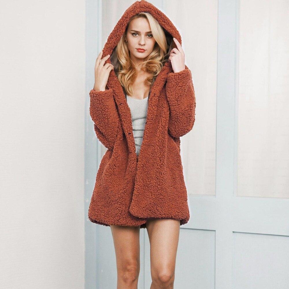 D'hiver de Femmes Long Manteau De Fourrure Faux Moutons Veste À Capuche Femme Chaud Laine Survêtement