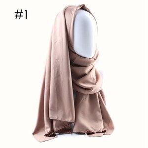 Image 2 - ワンピース無地登るヒジャーブイスラムショールヘッドラップソフトシルク感教徒ヒジャーブマレーシアサテン無地 hijabs