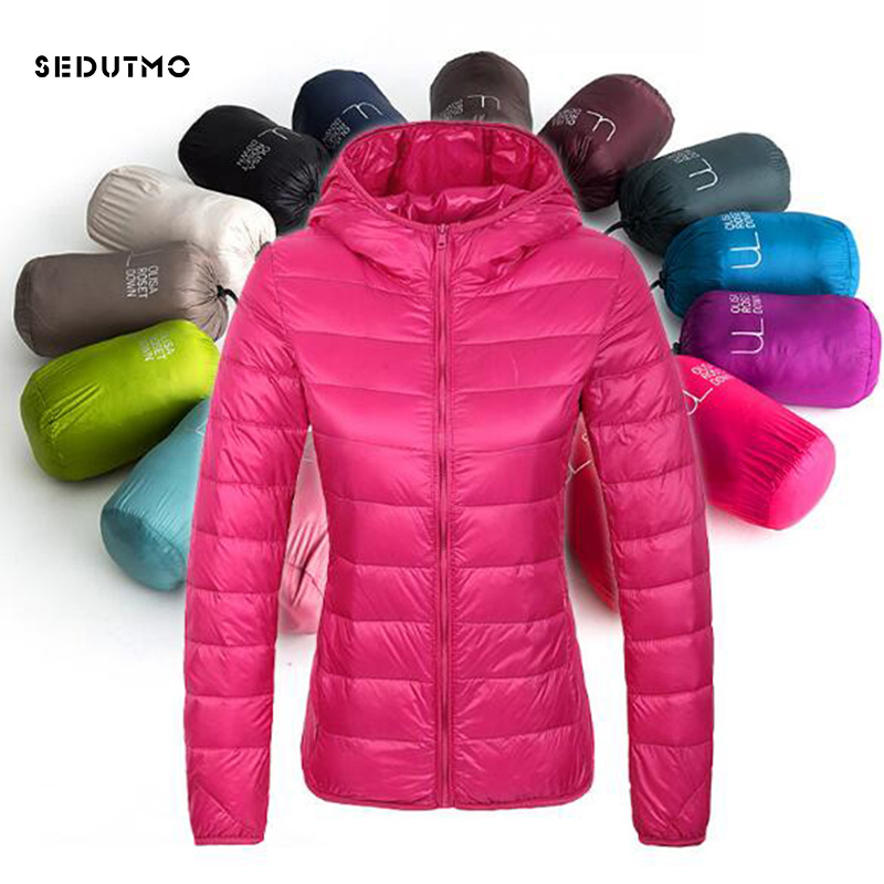 SEDUTMO 2018 Winter Ultra Light Womens   Down   Jackets Short Plus Size 3XL Duck   Down     Coat   Hooded Puffer Jacket Spring   Coat   ED029