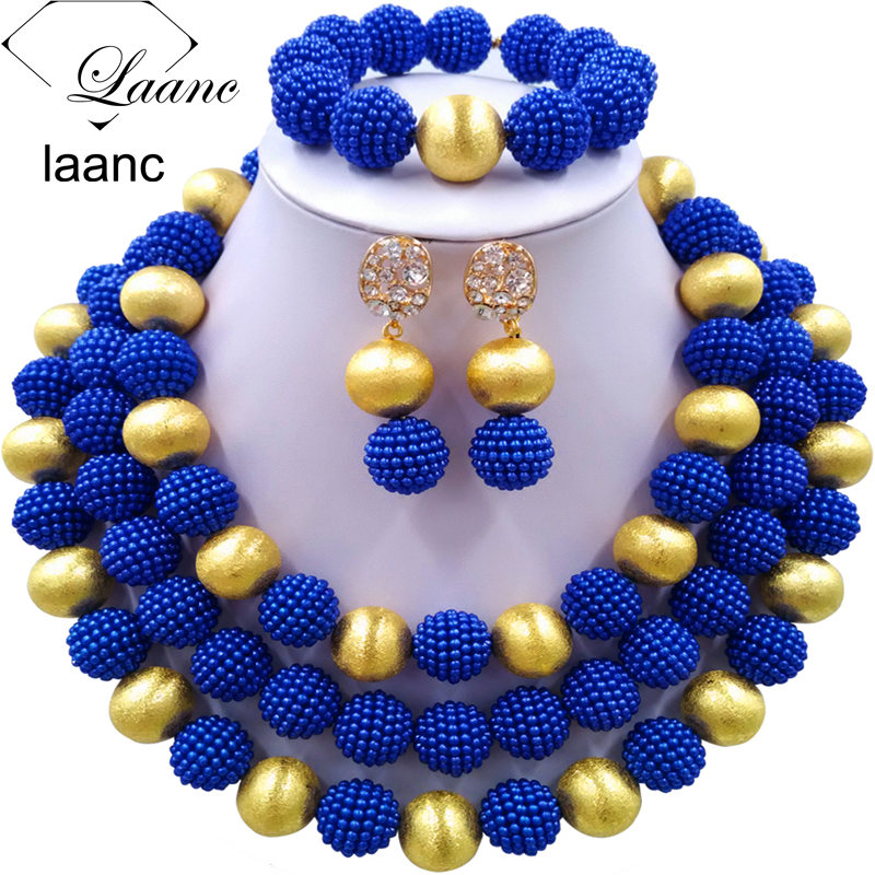 Laanc Royal Blue Simulated Pearl Black Women African Jewelry Set Nigerian Beads Necklace Wedding Accessories AL628