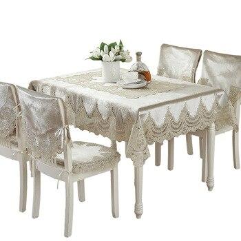 Europa Stil Luxus Komfort Tischdecke Spitze Rand Staubdicht Abdeckungen Für Tisch Stuhl Abdeckung Home Party Tischdecken Hohe Qualität