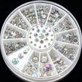 1 Rueda 2mm 3mm 4mm 5mm Tamaño 3D Decoración Del Arte Del Clavo punta de Cristal Glitter Rhinestone Para Uñas Encanto Manicura DIY Accesorio ZP001
