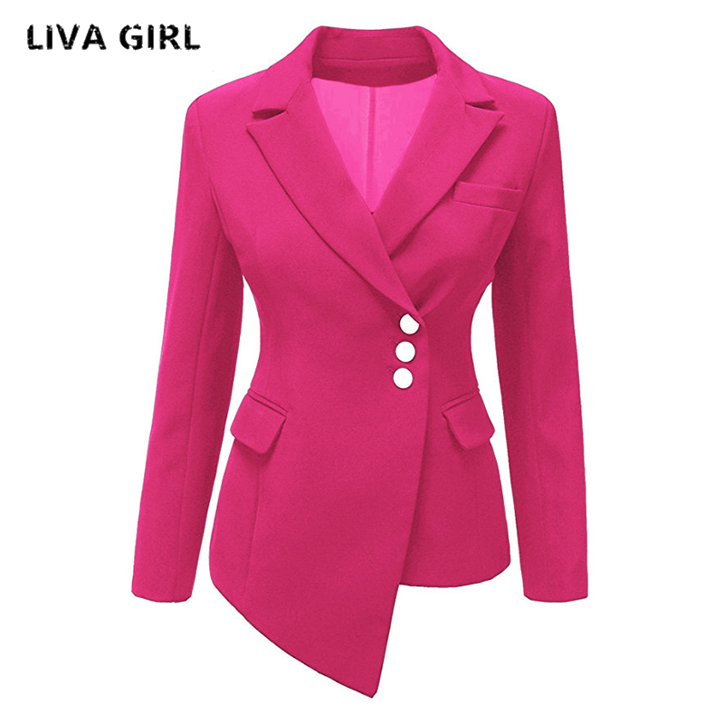 autumn blazer women coat solid irregular long sleeve V-neck blazer suits casual slim blazers jacket outwear candy color