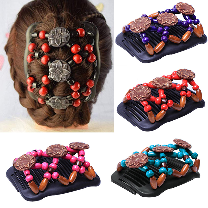 Women Hair Accessories Double Bead Hair Comb Retro Magic Hair Clip Elastic Beads Hairpin Stretchy Hair Combs