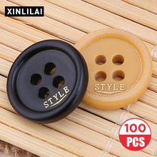 100pcs Resin Round flat Solid Buttons Wooden Fashion letter Hademade Four Holes Suit Coat Pants Sewing Fastener
