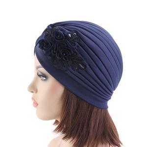 Image 5 - Women India Hat Women Muslim Islamic Elastic Turban Head Scarf Flower Beanie Hat Headwear Fashion Ruffle Turban Chemo Cap Pleate
