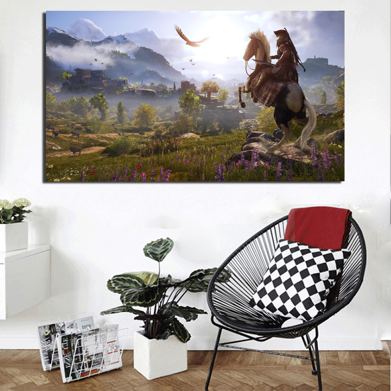 Assassins Creed Horse Riding Canvas Painting Living Room Home Decoration Modern Wall Art Oil Painting Poster Picture Accessories in Painting Calligraphy from Home Garden