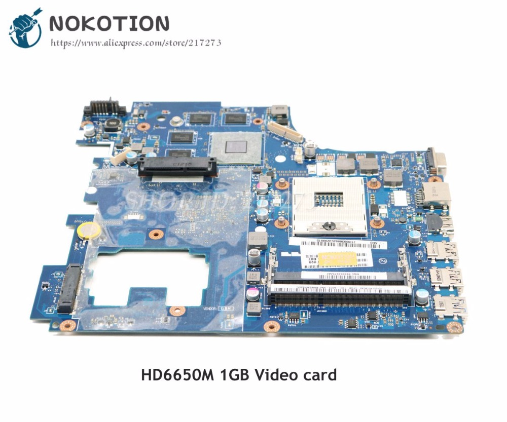 NOKOTION LA-6758P Main Board For Lenovo ideapad G770 Laptop Motherboard HM65 DDR3 HD6650M Video Card 1GB piwg4 la 6758p rev 1a for lenovo ideapad g770 17 laptop motherboard hd3000 amd radeon hd 6650m 1gb ddr3 with cpu