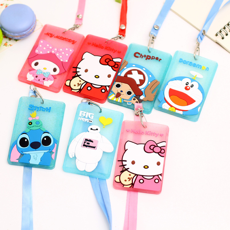 Cartoon ID Card Holder with String Soft Silicone Cards Case Badge Holder Kitty Rilakkuma Baymax Totoro Doraemon Office School silicone cartoon cute id credit card holder bus card student id badge id name business credit cards cover unistyle