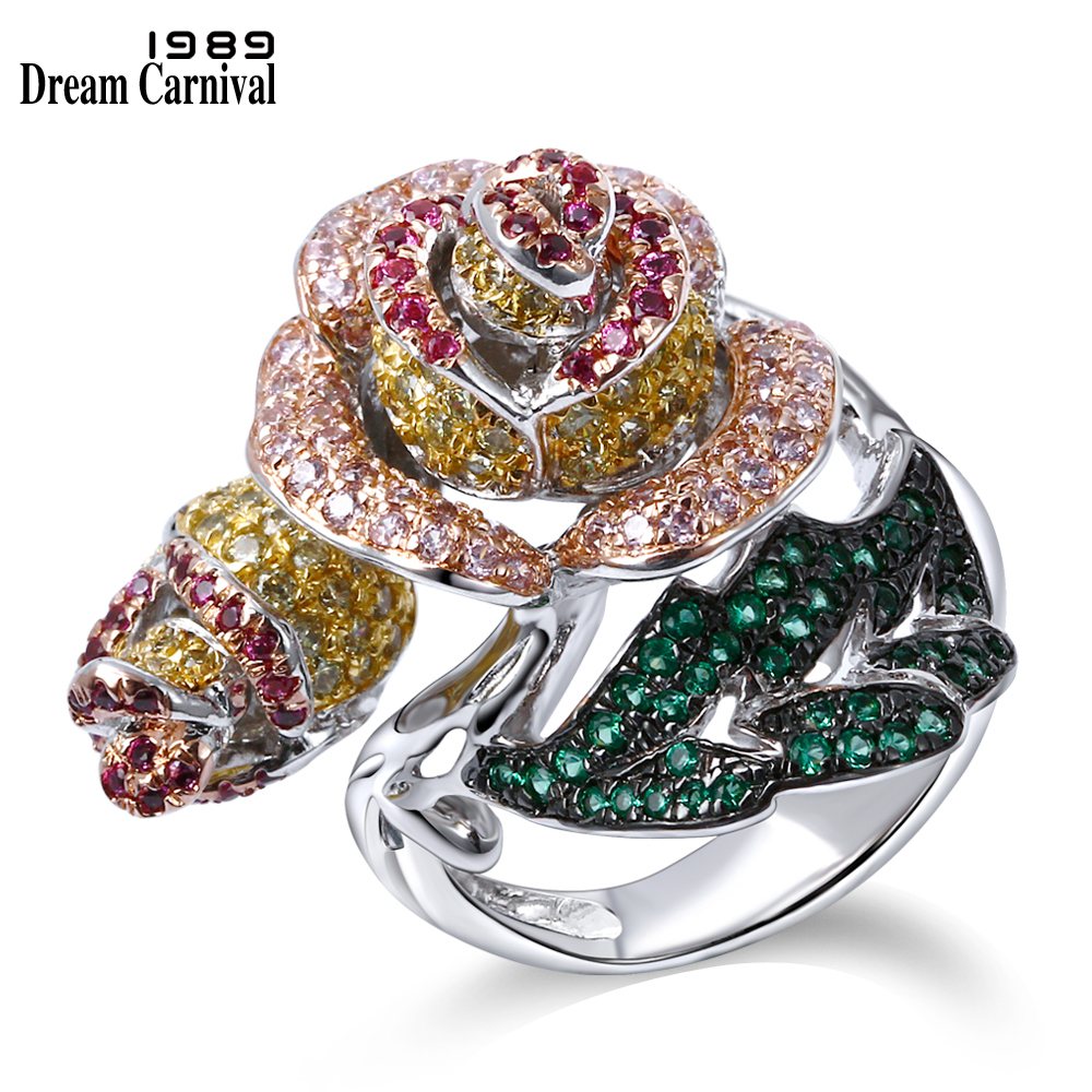 DreamCarnival 1989 Elegant Jewelry Big Rose Flower Leaf Design Pave Bright Colorful stones Cocktail Party Brass