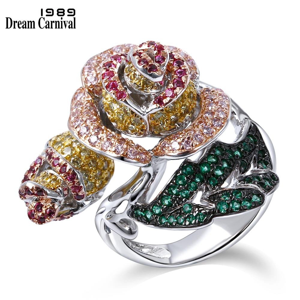 все цены на DreamCarnival 1989 Elegant Jewelry Big Rose Flower Leaf Design Pave Bright Colorful stones Cocktail Party Brass Ring VR90224B