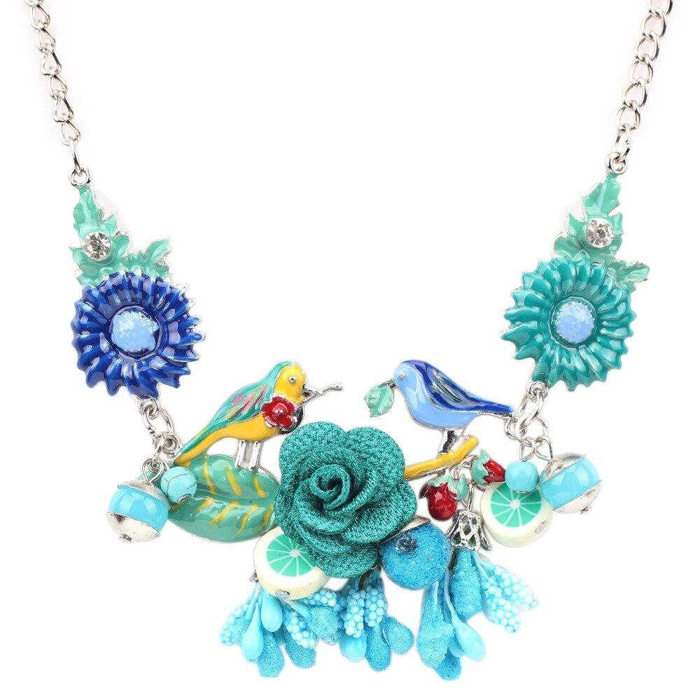 Prix pour Bonsny Déclaration Sautoir Émail Oiseau Fleur Collier Alliage Longue Chaîne Pendentifs 2016 Nouveaux Bijoux Pour Les Femmes Charme Accessoires